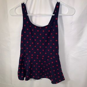(4 for $25) Express🌺polka dot peplum tank top